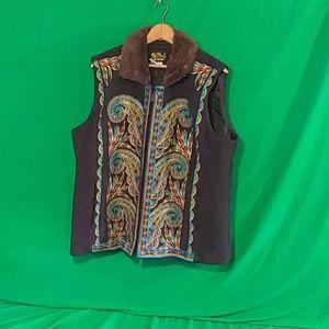 Bob Mackie wearable art XL faux fur trim vest